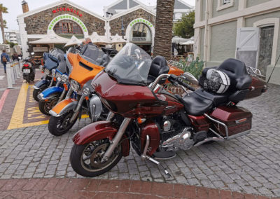 Harleys at the Waterfront to collect our guests