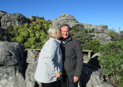 Lydia and Piet on Table Mountain - deserved Makani prize winners